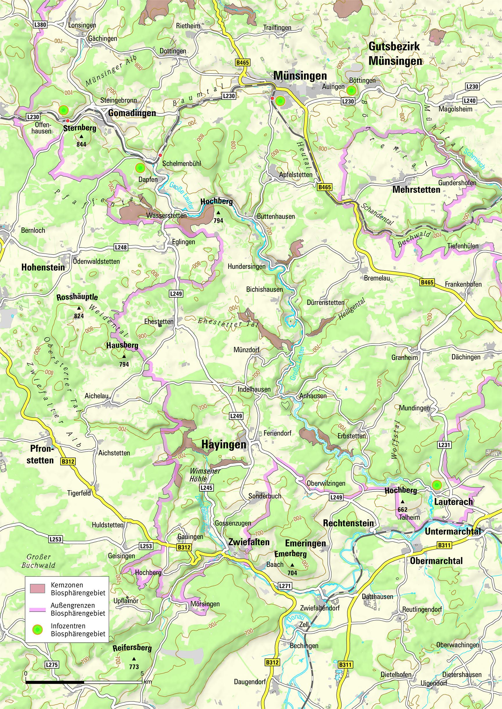 Schwäbische Alb Karte Städte.Großes Lautertal